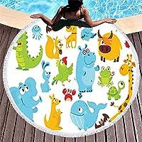 ハッピーアニマルプリントカートン動物ラウンドビーチタオル大 150*150厚さのマイクロファイバー生地バスタオルビーチの家の装飾