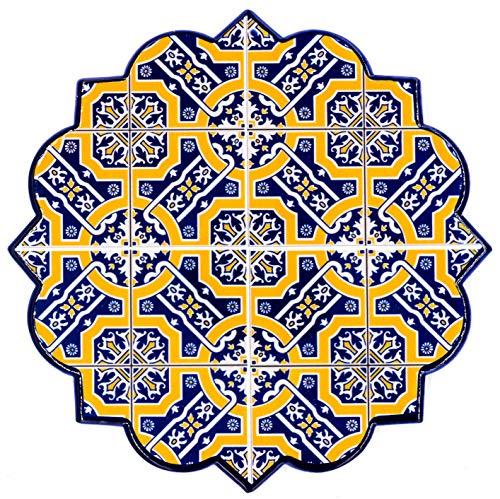 Bohoria® - Sottopentola rotondo in ceramica, design premium, per appoggiare vasi, pentole, caraffe e bottiglie su tavolo da pranzo in legno, vetro o pietra, 18 cm, motivo: mosaico marocchino Sevilla.