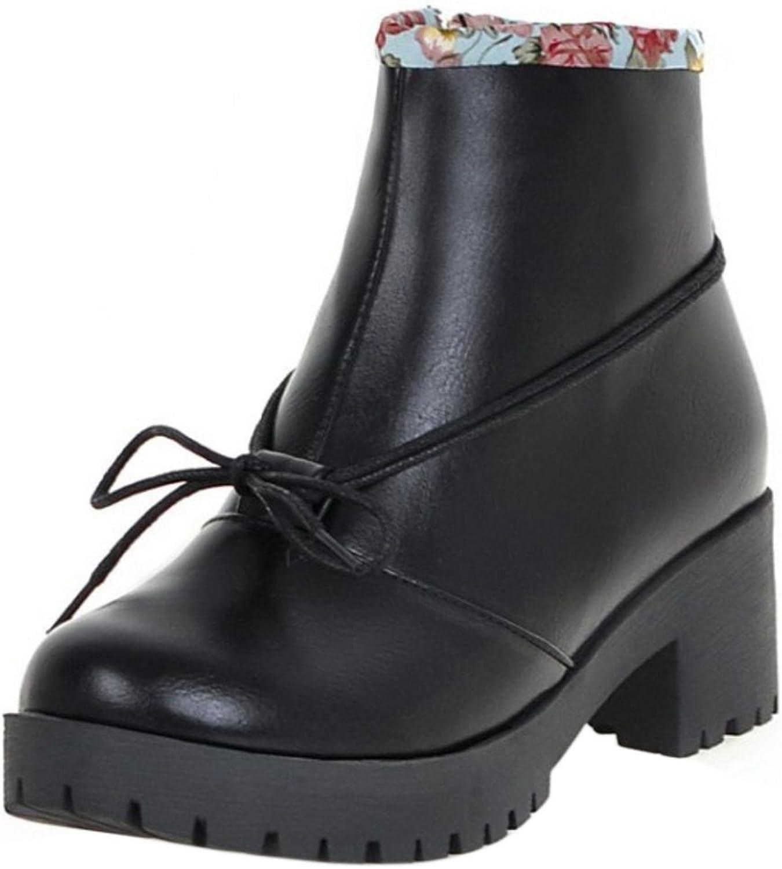 FizaiZifai Women Retro Ankle High Boots Mid Heel Zip shoes Bowtie