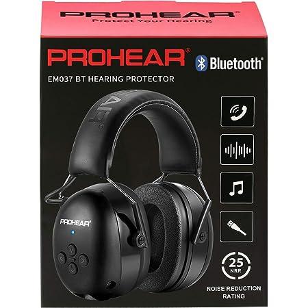 PROHEAR 037 Bluetooth Casque Anti Bruit, Musique Protection Auditive Rechargeable avec Sac Transport, Cache-Oreilles de Protection pour Tonte, Construction, Menuiserie, Loisirs, SNR 30dB