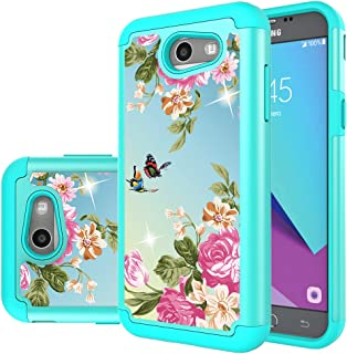 Samsung Galaxy J3 Mission Case,J3 Eclipse,J3 Emerge,J3 Prime,J3 Luna Pro,Sol 2,Amp Prime 2 Case,Yiakeng Shockproof Impact Protection Tough Rugged Armor Cover for Samsung J3 2017 (Green Flower)