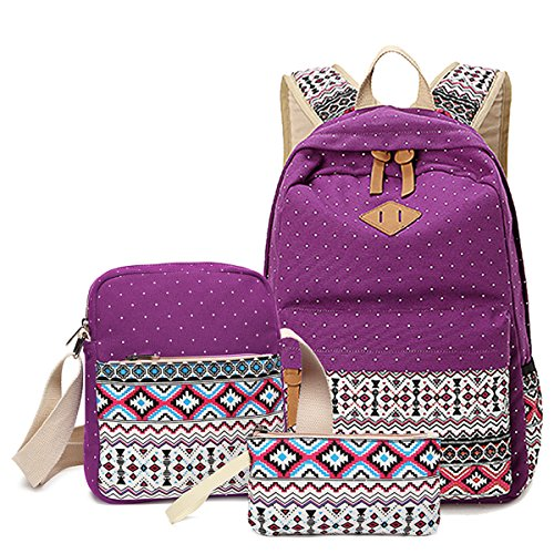 High School Backpack for Teens Girls, DIMY Canvas Middle School Backpack Kids Girls Hiking Classic Purple DS19