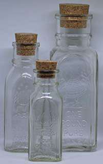 Muth Two Sets of 3 Different Jars, 4 oz, 8 oz, and 1 lb, with Corks