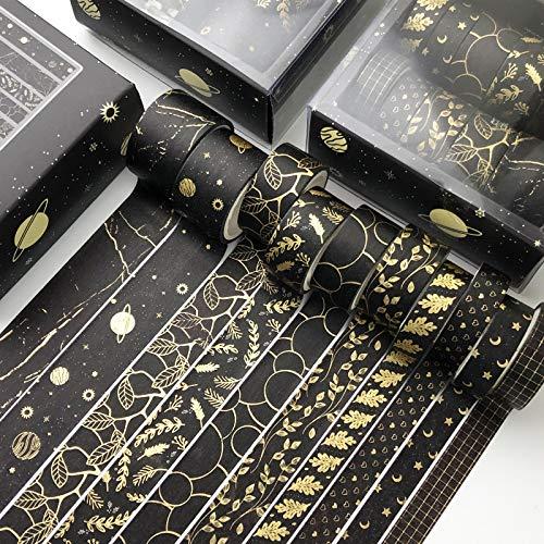 SWECOMZE 10 Rollen Washi Tape Set,Dekoratives Klebeband,DIY Papier Tape,Kollektion für Bastler,verschönert Journals,Karten und Scrapbooking (Schwarz)