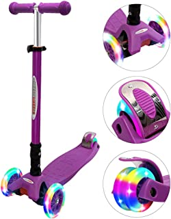 ChromeWheels Scooters for Kids, Deluxe Kick Scooter Foldable 4 Adjustable Height 132lbs Weight Limit 3 Wheel, Lean to Steer LED Light Up Wheels, Best Gifts for Girls Boys Age 3-12 Year Old