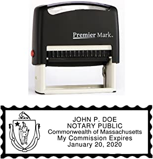 Massachusetts Notary Self-Inking Rubber Stamp - Meets State Specifications