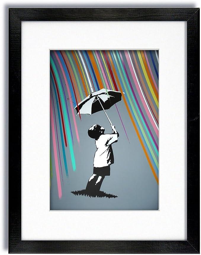 Mounted /& Framed Print Banksy  Umbrella Man Rainbow Rain Girl