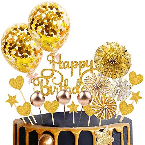 witgift 37 Stück Tortendeko Geburstagstorte, Happy Birthday Cake Topper Konfetti Ballon Geburtstag Kuchendeko Torte Topper Kuchen Deko Kuchendekoration mit Sternen Liebe und Papierfächer (Gold)