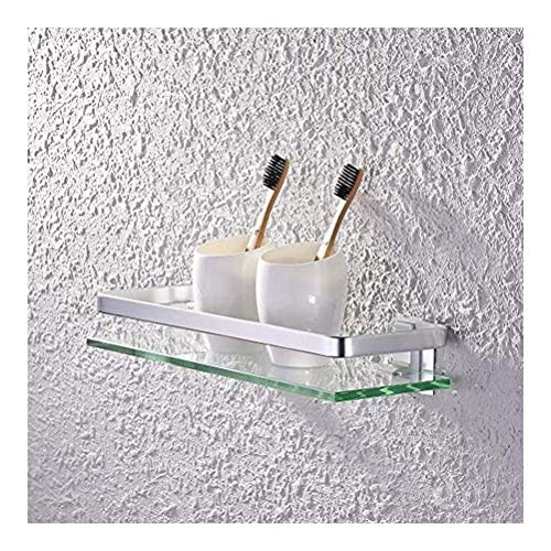 ZhanMaGS Estante de baño de vidrio con riel de aluminio montado en la pared de vidrio templado de perforación accesorio de baño 35cm 1027
