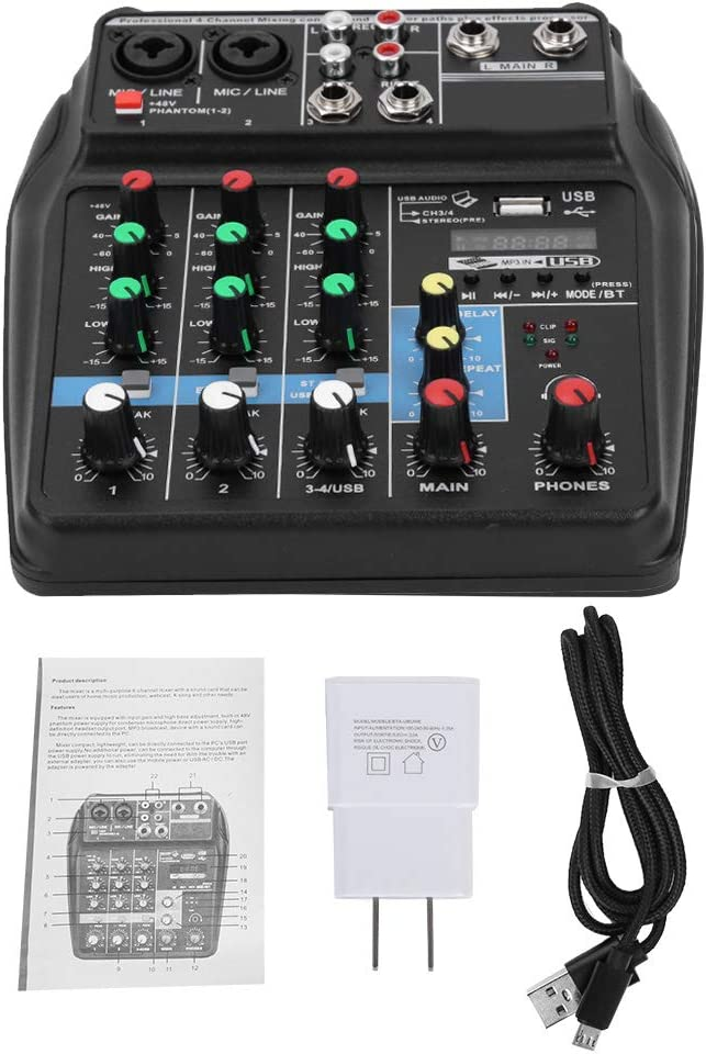Professional 4 Daily bargain sale Channel Audio Mixer Song Stereo C Singing unisex