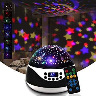 Star Projector Night Light for Kids,Baby Night Light Projector for Bedroom - with Moon Timer Remote and Music Speaker - Be...