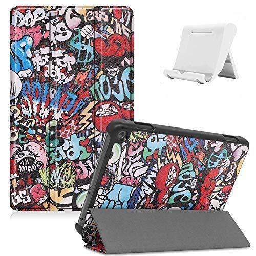Shinyzone Hülle Kompatibel mit Amazon Fire HD 8 2020,Amazon Fire HD 8 Plus 2020 Tablet Hülle,Leder Trifold Ständer Magnetisch Befestigung Schutzhülle mit Auto Aufwachen/Schlaf,Graffiti