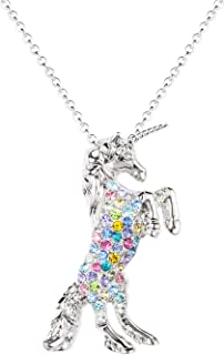 luomart Girls Unicorn Pendant Necklaces Jewelry Gift White Gold Plated Austrian Crystal Birthstone for Teens Women