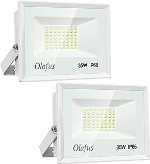 Olafus 2 Pack 35W Focos LED Exterior, IP66 Impermeable 3800LM 5000K Blanco Frío Floodlight LED, Equivalente a 230W Halógeno, Proyector Iluminación de Seguridad, Jardín, Garaje, Fábrica, Terraza