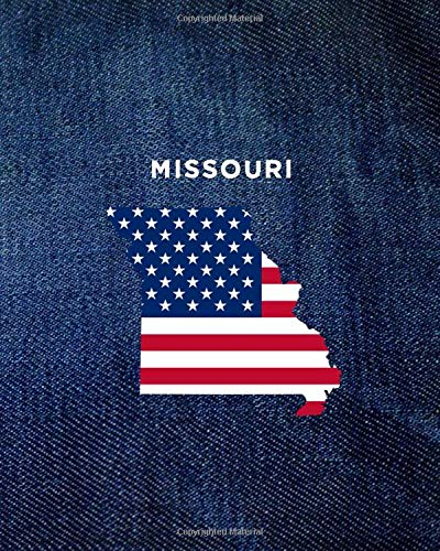 MISSOURI: 8x10 wide ruled notebook : vintage denim jeans : USA Flag : The Great State of MO