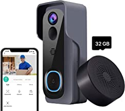 Video Doorbell with Chime【2020 Upgraded Version】, Compatible with Amazon Alexa and Google Home Assistant, 1080P Wireless D...