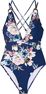 Seaselfie Women's Blue Floral Back Cross Strappy Padding One Piece Swimsuit