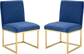 2 Piece Velvet Dining Room Chairs, Accent Chairs (Navy)