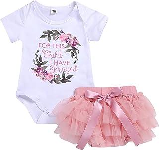 Lazzboy Kinder Baby Mädchen Outfits Kleidung Floral Brief Strampler Bodysuit  Tutu Kleid Sets Kurzarm Ballettanzug Mit Rock