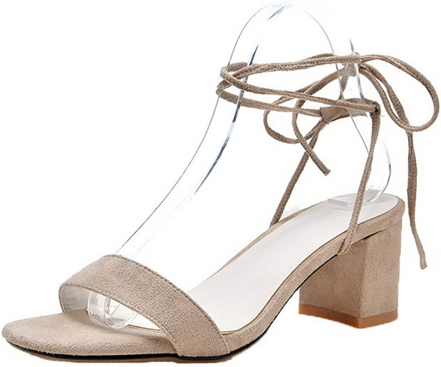 AmoonyFashion Women's Lace-up Solid Open-Toe Sandals