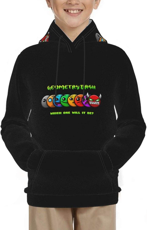 Geometry-Dash Fashion Teen Hooded Sweater Comfortable Classic Boy and Girl Black