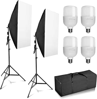 """Professional Photography 20""""x28""""/50x70cm Softbox with E27 Socket 4X 25W LED Light Lighting Kit for Photo Studio Portraits, Product Photography and Video Shooting"""