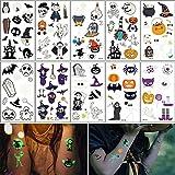 Wandefol 10pcs Pegatina Halloween, Tatuaje Luminoso, Maquillaje Halloween, Tatuaje Fosforescente, Tatuaje Halloween para Fiesta Halloween Cosplay Brujo Calabaza Araña Cráneo Fantasma Esqueleto