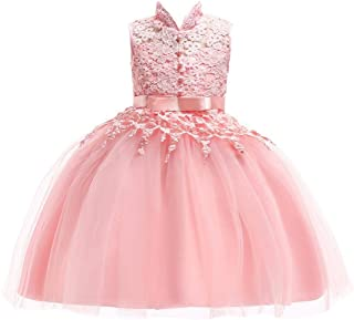 Minisoya Children Kid Baby Girls Bowknot Flower Lace Princess Pageant Party Ball Gown Formal Wedding Bridesmaid Dress