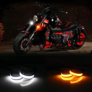 Miniclue Motorcycle Switchback Dual-Color White & Amber LED Fork Turn Signal DRL Daytime Running Light Universal Motorbike Lamps Waterproof and Durable