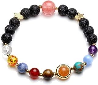 Top Plaza Natural Reiki Healing Gemstone Lava Stone Aromatherapy Essential Oil Diffuser Bracelet Special Golden Solar System Nine Planets Elastic Bracelet