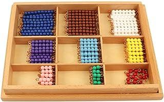 Montessori Wooden Decimal Multiplication Board Matching Beads, Early Childhood Mathematics Educational Tool Toys