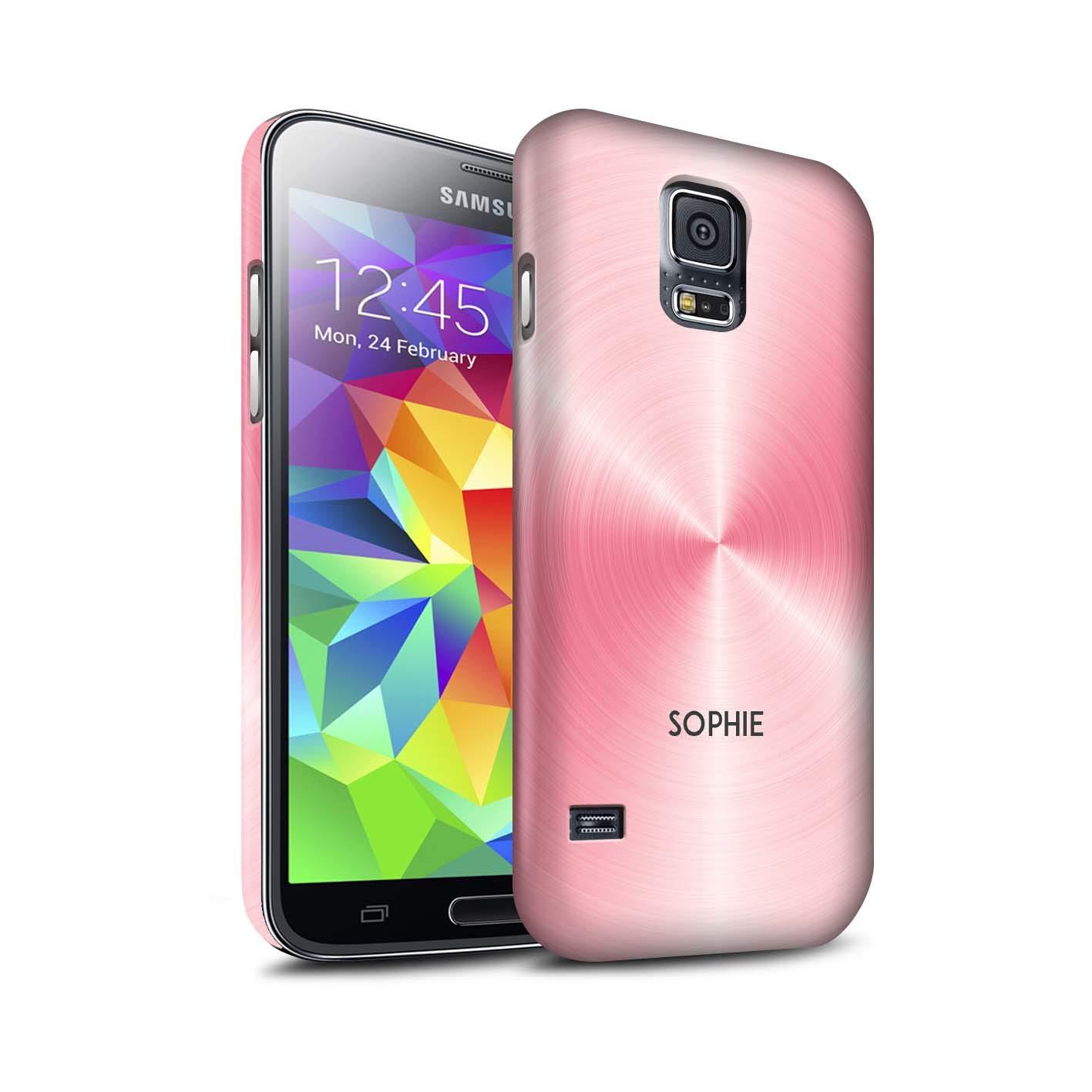 Personalizado Efecto Metal Cepillado Impreso Funda Mate para el Samsung Galaxy S5/SV/Rosa Orquidea Diseño/Inicial/Nombre/Texto Carcasa/Estuche/Case Snap: Amazon.es: Electrónica