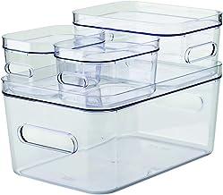 Lot de 4 Boîtes Compact M S XS avec Couvercle - Rangez Votre Maison avec Style & Praticité - 4 Boîtes & 4 Couvercles Trans...