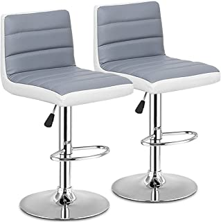 COSTWAY Bar Stool, Modern Swivel Adjustable Armless Barstools, Counter Height PU Leather Bar Stools for Kitchen Dining Living Bistro Pub Counter Back Bar Stools, Set of 2, Gray and White