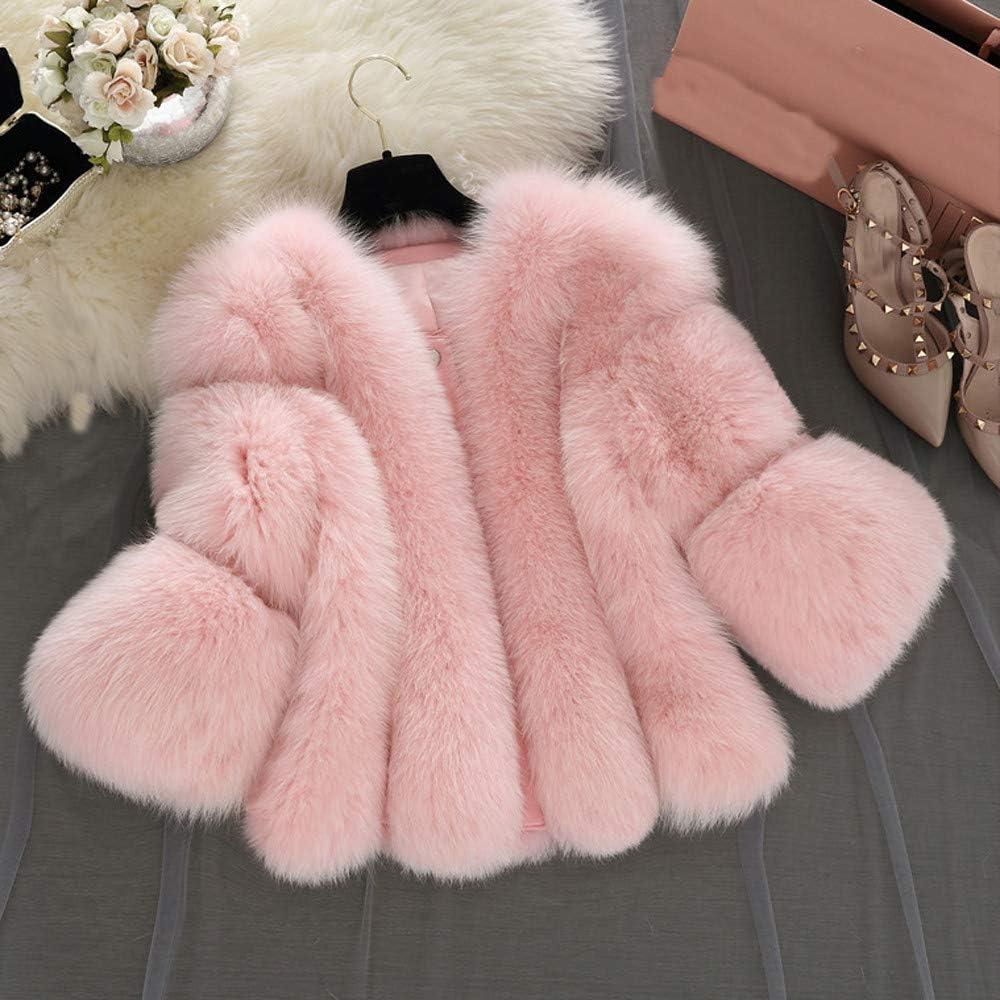 Lialbert Damen Mantel Winter Elegant Pelzmantel Warm Faux Fur Kunstfell Jacke Kurz Kunstpelz Mantel Große Größen Winterjacke Mode Coat Casual Plüsch Mantel Rosa