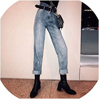 Blue High Waist Bleached Jeans for Women Denim Jeans Pants Solid Spring Summer,Blue,S