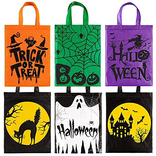 Bolsas de truco de Halloween o bolsas de regalos no tejidos Bolsas de regalo 6 Paquete Skull Calabaza Web Spider Witch Bolsas de caramelo Reutilizable Goodie Trate Bolsas con asa para Favores de fiest