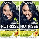 Garnier Hair Color Nutrisse Nourishing Creme, 22 Intense Blue Black, 2 Count