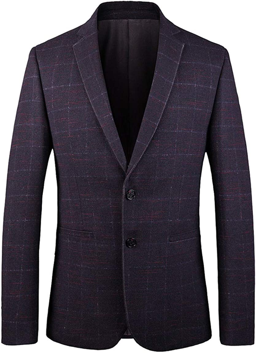 Men's Red Grid Blazer Peak Lapel Business Suit Jacket Regular Fit Two Buttons Spring Winter Coat