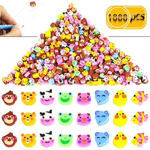 Pralb 1000PCS Miniature Assorted Animals Collection Pencil Top Erasers, Adorable Animal Designs Won't Smudge Or Tear Paper,Eraser Caps Style Great For Homework Rewards, Party Favors, And Art Supplies.