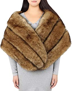 GREFER Faux Fur Shawl Wrap Stole Shrug Winter Bridal Wedding Evening Party Cover Up