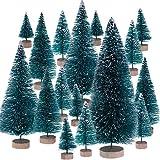 Leinuosen Piccoli Alberi di Natale Alberi di Natale di Sisal Ornamenti di Gelo Neve con Basi in Legno per Decorazione di Festa di Natale (Taglia 1, 43 Pezzi)