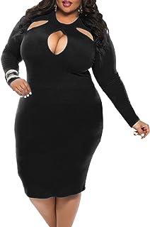 BIUBIU Women's Plus Size Sexy Long Sleeve Club Bodycon Bandage Midi Dress L-4XL
