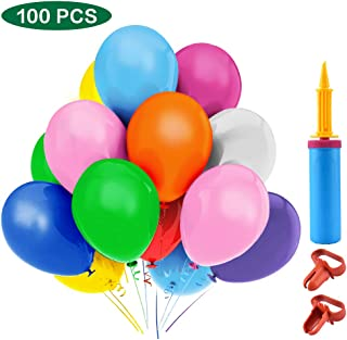 Lacoreka Party Balloons 12 Inches Rainbow Set (100 Pack) with Balloon Pump Hand Held, Assorted Colors Latex Helium Balloons Bulk for Kids Birthday Parties Decoration Balloon Arch Supplies Kit