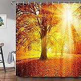 JAWO Baum Duschvorhang für Badezimmer, gelbe Wald Landschaft Stoff Badewannenvorhänge Herbst Blätter Natur Druck Bauernhaus Bad Duschvorhänge mit Haken Set, 174 x 178 cm