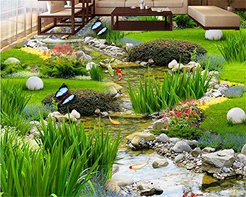 Weaeo Garten Gras Wasser Karpfen Teppiche 3D Boden Malerei Schlafzimmer Badezimmer Selbstklebende Bodenpaste 3D Bodenbelag-350X250Cm