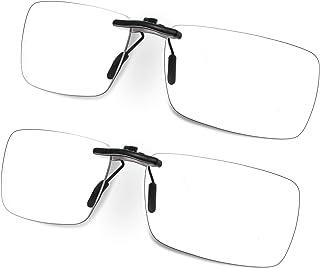 FONHCOO Clip-on Blue Light Blocking Glasses Night Driving Sunglasses 2 Pack Lens over Prescription Glasses for Women Men (...