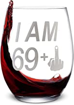 ALISISTER Wine Glasses I Am 69 + 1 Middle Finger 40Th Birthday Gift for Women Men Funny Cup Stemless 170Z Mug With Letter Tunring 70 Tumbler Glass Home Party Bar Decoration