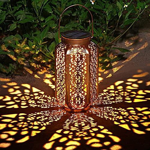 Luz de linterna solar Luces de jardín colgantes para exteriores Lámpara de metal Decoraciones de patio para patio, porche, césped, accesorios de jardín de arte