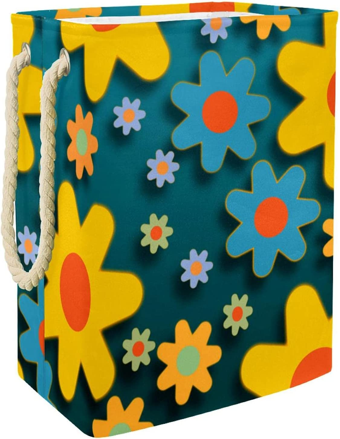 Laundry Basket With Rope Handle Brand Cheap Sale Venue Blue safety Collapsible Flower Yellow